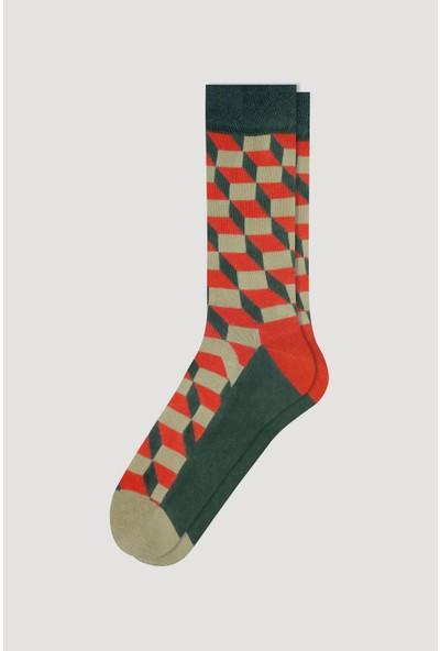 Bross Turuncu Dama Desen Erkek Çorabı