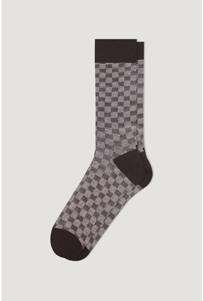 Bross Kahve Jakarlı Pitikare Desenli Erkek Çorabı