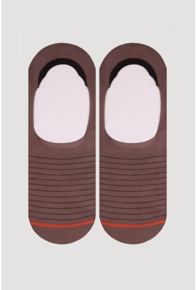 Bross Karamel Geometrik Desenli Erkek Babet Çorap