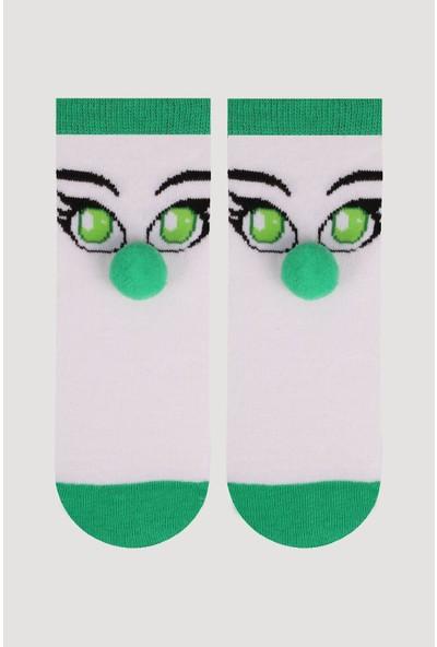 Bross Yeşil Ponpon Aksesuarlı Çocuk Çorabı