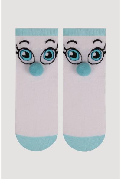Bross Mavi Ponpon Aksesuarlı Çocuk Çorabı