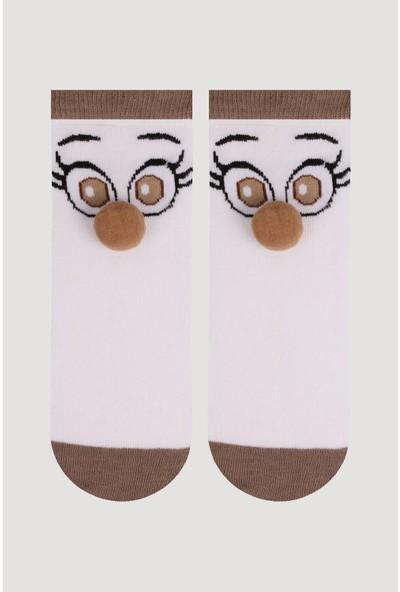 Bross Kahve Ponpon Aksesuarlı Çocuk Çorabı