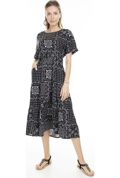 Lela Desenli Kısa Kol Midi Kadın Elbise 5202788
