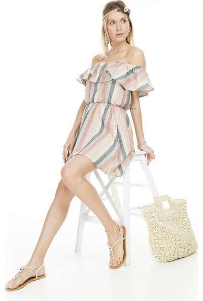 Lela Carmen Yaka Çizgili Kadın Elbise Mk19S283207