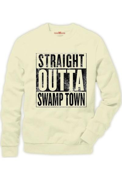 Tshirthane Pubg Straight Outta Swamp town Erkek Sweatshirt
