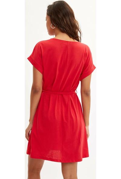 Defacto Kadın Belden Bağlamalı Elbise