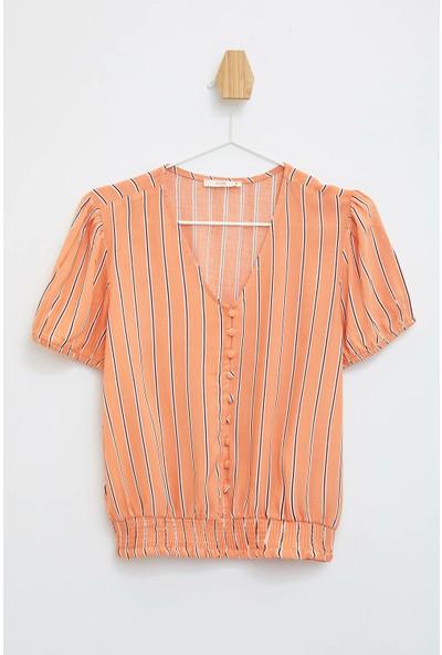 Defacto Kadın Çizgili V Yaka Bluz