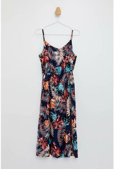 Defacto Kadın Çiçekli Askılı Elbise