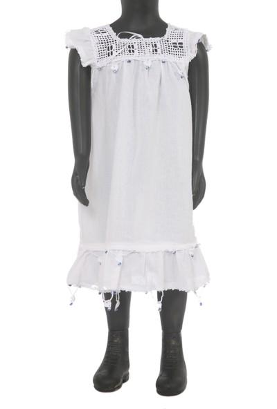 Azru A Kız Çocuk Elbisesi Pamuklu Yazlık Nazar Boncuklu