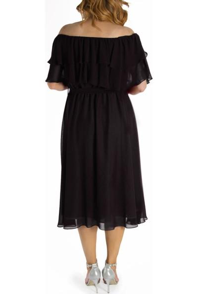 Melisita Karmenim Büyük Beden Şifon Elbise