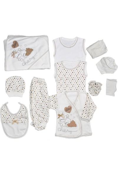 Bebegen Chery Kahverengi Kalpli Tavşan Puanlı 11 Parça Hastane Çıkış Seti