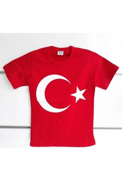 Bebegen Kırmızı Üzerine Beyaz Ay Yıldız 23 Nisan Kısa Kollu Çocuk Bayrak T-Shirt