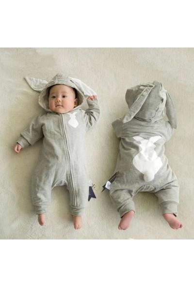 Bebegen Gri Tavşan Kulaklı Ponponlu Bebek Tulum