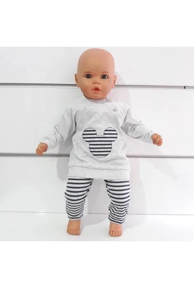 Bebegen Mickey Siyah Çizgili Gri 2'li Bebek Takım