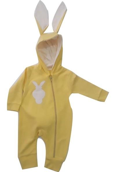 Bebegen Sarı Tavşan Kulaklı Ponponlu Bebek Tulum