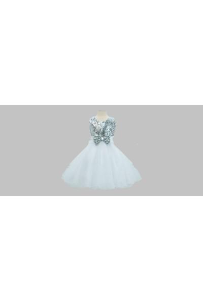 Butik Happy Kids Prenses Model Kız Çocuk Abiye Beyaz Gümüş Elbise