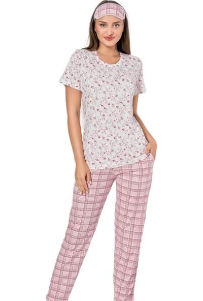 İnsta Pijama Kareli Çiçek Desenli Kısa Kollu Kadın Pijama Takımı