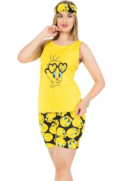 İnsta Pijama Sarı Kuş Desenli Şortlu Kadın Pijama Takımı
