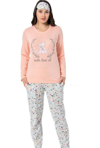 İnsta Pijama Kuş Desenli Uzun Kollu Kadın Pijama Takımı