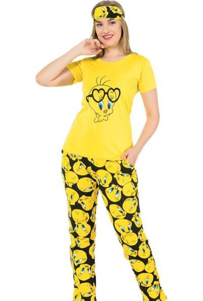 İnsta Pijama Sarı Kuş Desenli Kısa Kollu Kadın Pijama Takımı