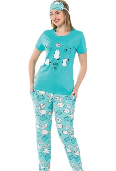 İnsta Pijama Cute Cat Desenli Kısa Kollu Kadın Pijama Takımı
