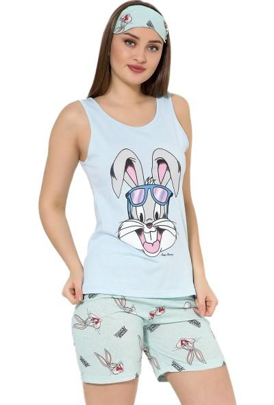 İnsta Pijama Mavi Tavşan Desenli Şortlu Askılı Sıfır Kol Kadın Pijama Takımı