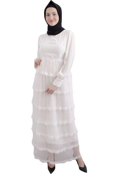 Arda New Line Kadın Krem Rengi Elbise 3304241-10.19