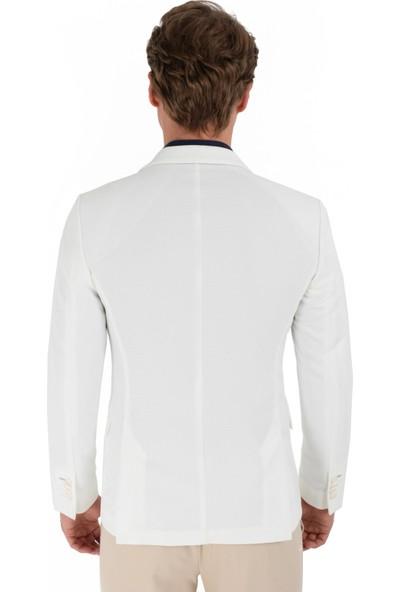 Morven Barcelona Slim Fit Örme Ceket Beyaz