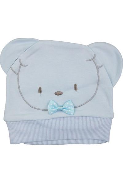 Minitoy Ayı Desenli Bebek Şapka Mavi