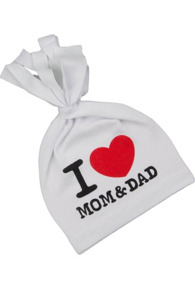Albimama Mom Dad Yazılı Bebek Şapka