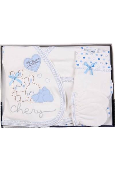 Juuta Tavşan Desenli 5 Parça Zıbın Set Mavi