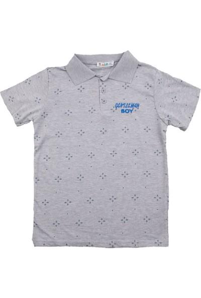 Alg Desenli Yakalı Gri Erkek T-Shirt