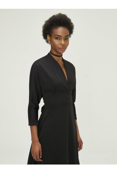 Xint Kadın V Yaka Truvakar Kol Kloş Elbise