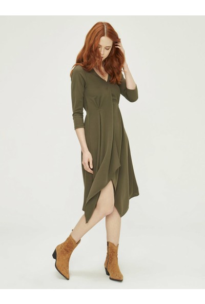 Xint Kadın V Yaka Truvakar Kol Elbise