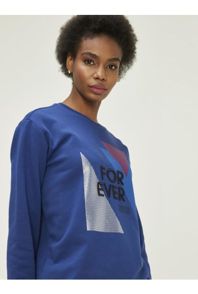 Xint Kadın Yuvarlak Yaka Rahat Kalıp Ribanalı Sweatshirt