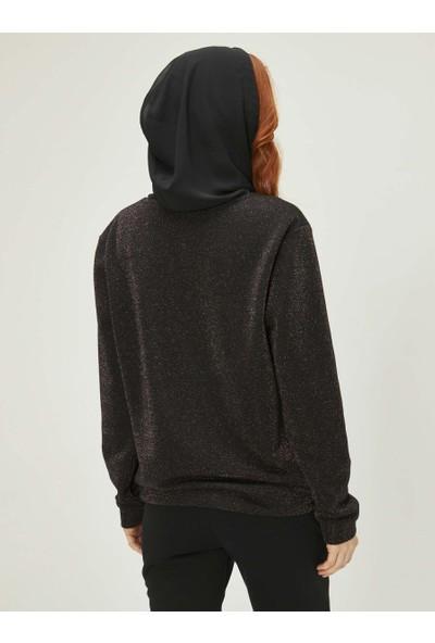 Xint Kadın Taş Baskılı Kapüşonlu Sweatshirt
