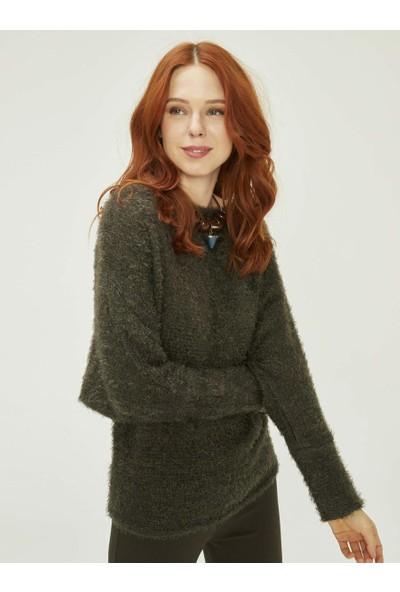 Xint Kadın Kayık Yaka Örme Sweatshirt