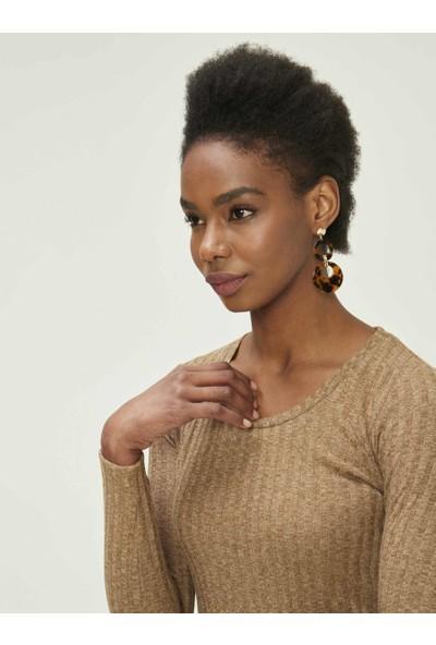 Xint Kadın U Yaka Rahat Kalıp Bluz