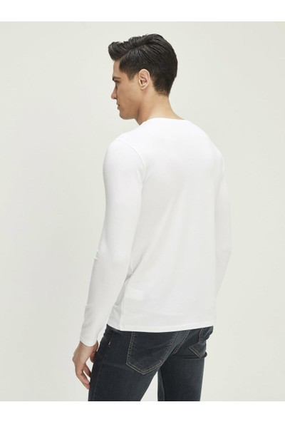 Xint Erkek V Yaka Uzun Kollu Basic Tişört