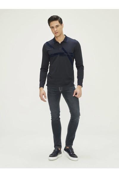 Xint Erkek Polo Yaka Baskılı Uzun Kollu Tişört