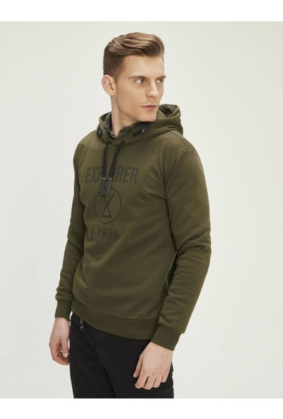 Xint Erkek Baskı Detaylı Kapüşonlu Sweatshirt