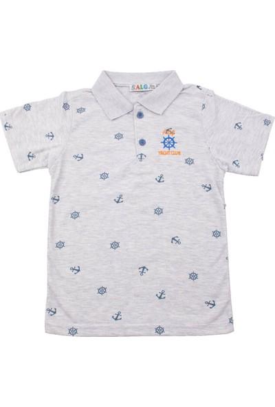 Alg Dümen Nakışlı Açık Gri Çocuk T-Shirt