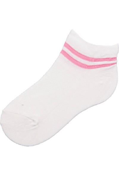 Poty Çizgili Ekru Kız Soket Çorap