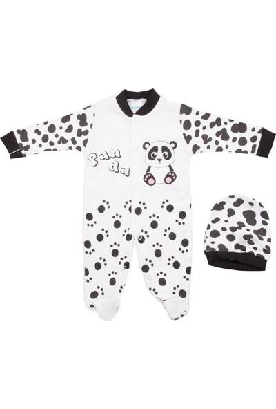 Sercinyo Baby Panda Siyah Şapkalı Bebek Tulum