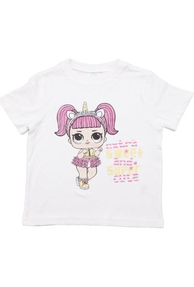 Fuar Baby Simli Kız Ekru Kısa Kol T-Shirt