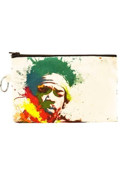 Bant Giyim - Jimi Hendrix Bez Cüzdan Clutch El Çantası