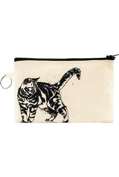 Bant Giyim - Kedi Bez Cüzdan Clutch El Çantası