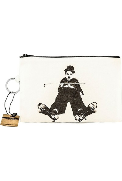 Bant Giyim - Charlie Chaplin Skater Bez Cüzdan Clutch El Çantası