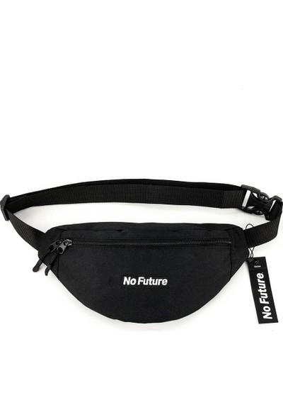 No Future - Box Logo Siyah Bel Çantası