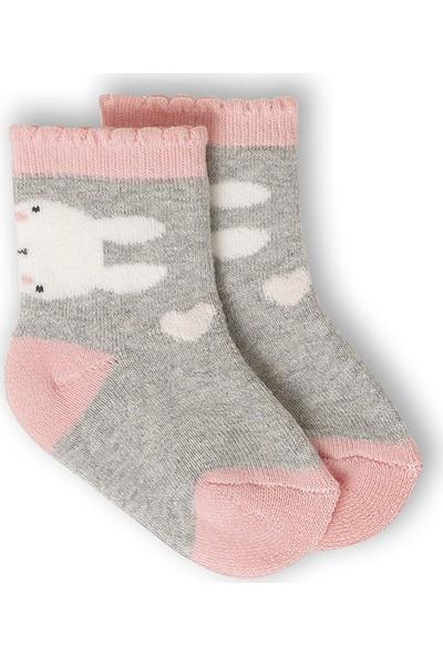 Ciorap Bebek Pembe Tavşan Desenli Havlu Çorap 1410